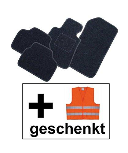 RAU Passform Fussmatte FREE graphit inkl. Warnweste orange für Mercedes E-Klasse W211 / S211 Limousine / T-Modell Kombi Bj. 03/02 - 02/09 mit Mattenhalter vorne