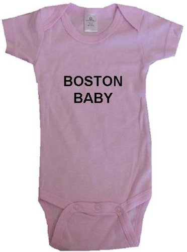 BOSTON BABY - City Series - Pink Onesie / Baby T-shirt - size Large (18-24M) at Amazon.com