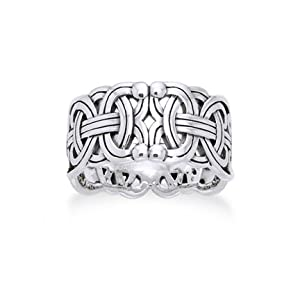 Viking Braided Wedding Band Borre Knot Norse Celtic 10mm Sterling Silver Ring Size 4