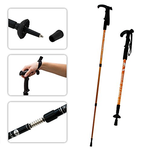 Orange Hiking Trekking Basket Anti Shock Walking Stick Crutch Adjustable Pole
