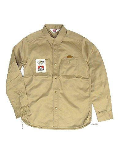 BEN DAVIS ツイルシャツ ベンデイビス 長袖シャツ ベンデービス 刺繍入りワークシャツ (Lサイズ, ベージュ)