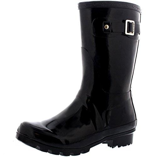 Womens Original Short Gloss Garden Winter Rain Waterproof Wellie Boots - 8 - BLA39 BL0069 (Woman Short Rain Boots compare prices)