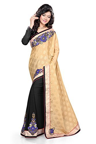 Sourbh Sarees Women's Beige And Blue Jacquard And Faux Georgette Saree with Unstitched Blouse Piece