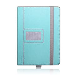 iPad Pro Case,Thankscase Rotating Case Cover with Business Card Holder for Personalization or Company Logo,Bulid-in Wallet Pocket and Hand Strap Case for iPad Pro 2015.(Mint Leather)