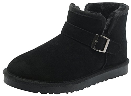 Rock Me Fluff Opening Collar Knitting Buckle Men Ankle Snow Boots Gentle I(11 D(M) Us, Black)