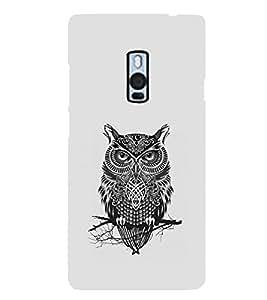 Oneplus 2, Fuson Premium Grey Owl Designer Metal Printed with Hard Plastic Back Case Cover