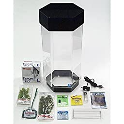 SeaClear 8 gal Hexagon Acrylic Aquarium Deluxe Minikit Set, 14 by 14 by 28\