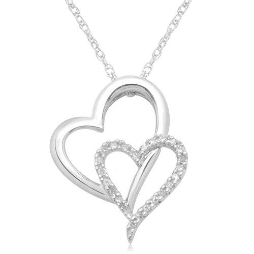 Diamond heart necklace reviews 10k white gold double heart diamond pendant necklace 110 cttw i j color aloadofball Choice Image