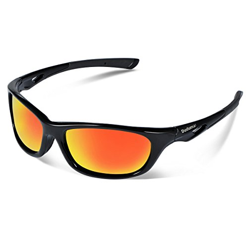 Duduma Polarized Sports Sunglasses for Men Women Baseball Running Cycling Fishing Driving Golf Unbreakable Frame Du646(Black frame with red mirror lens) (Sun Glasses Outdoor Sports compare prices)