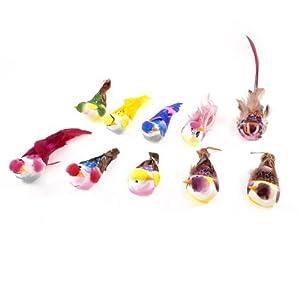 10 pi ces multicolore faux plumes d 39 oiseaux artificiels for Oiseaux artificiels de decoration