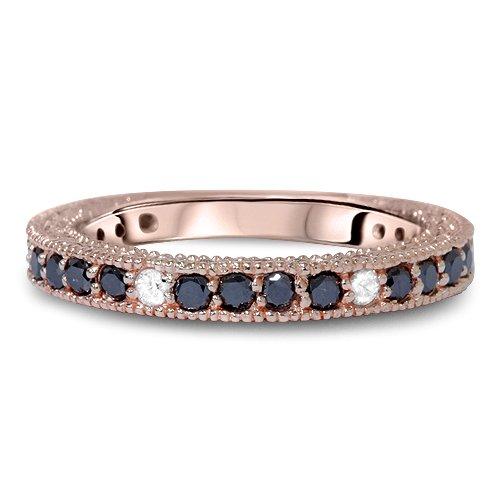 Carbonado ♦♦♦ Pink Rose Gold 85CT Black White Diamond Wedding Ring