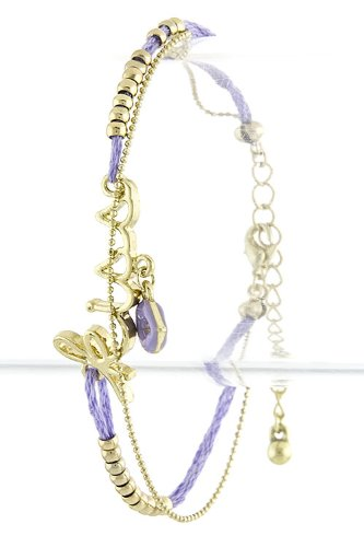 TIFFANY & ZARA KISS CHARM STRING BEAD BRACELET (Purple) at Amazon.com