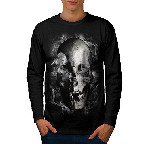 Cranio diavolo Flames Zombie Anima Uomo Nuovo Nero XL T-Shirt Manica Lunga | Wellcoda