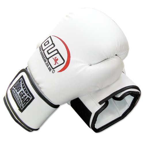 16oz WHITE DUO A/L Muay Thai Kickboxing Boxing Gloves