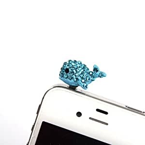 1x Blau Süß Wal Metall Strass Staub Schutz Stöpsel Staubdichter Kopfhörer Stecker Ohrhörer Handyanhänger Klinkenbuchse - Handyschmuck Headset Buchse für iPhone 3 3GS 4 4S 5, iPad 1 2 3 4 mini, Samsung Note 2 N7100, galaxy S3 i9300, i8190, i8262D, S2 i9100, i9268, S5830, i9000, Samsung Galaxy S4 i9500, i8262D i9268,HTC G18 Sensation XE oneX, GALAXY Ace2, LG Nexus 4HTC one X, TC X920e(Butterfly),Nokia Lumia 920 928 520 720, Sony L36h(Xperia Z SP L),Samsung Tab 10.1 P7510 P7300 P6800 P6200 P3100 Hamburg Germany