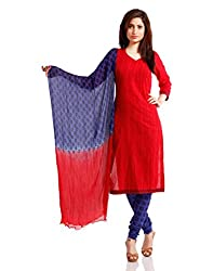 Pinkshink Womens Cotton Unstitched Dress Material (Psk29 _Red)