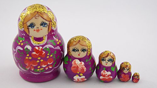 [Small Toy 5pcs Nesting Dolls Wooden Gift Handmade Neon Violet with Red Flowers] (Babushka Doll Costume)