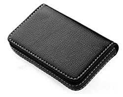 TruGud Stitched Leather Visiting Card Holder for Keeping Business Cards, Debit Cards, Credit Cards and more - BLACK