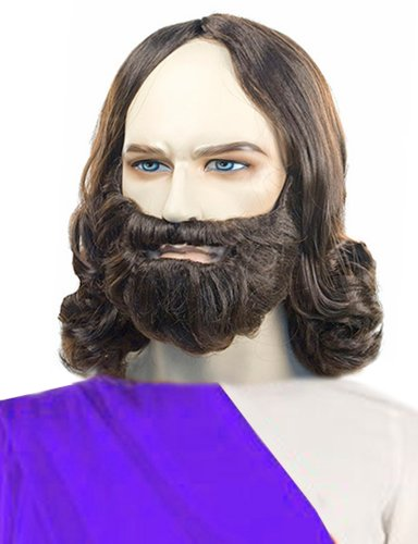 Costume Adventure Men's Quality Brown Biblical Jesus Wig and Beard Set