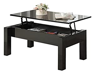 America Luiza Contemporary Coffee Table With Lift Top Storage Black