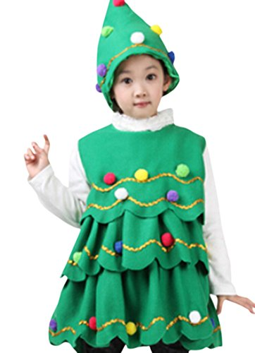 Ace Kids Girls Christmas Tree Costume Santa Claus Cos-play