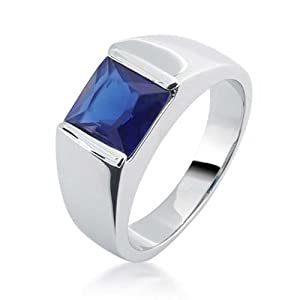 Bling Jewelry Simulated Sapphire Engagement Ring for Men Rhodium Plated