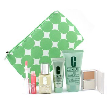Clinique Travel Set: DDML 30ml + Scrub Crm. 50ml + Moisturizer 15ml + Mini Powder Makeup + Lipgloss 2.4ml + Bag - 5pcs+1bag