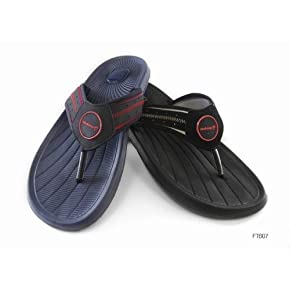 Mens Beach Shoes Flip Flops (Navy Black)