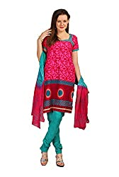 Parchayee Women's Pink Printed Cotton Dress Material