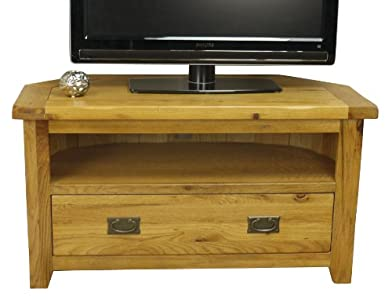 Cheap  Rustic Oak Corner Tv Plasma Dvd Video Unit Solid Cabinet Stand / Living Room Furniture