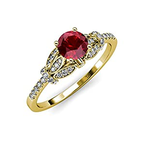 Ruby and Diamond (SI2-I1, G-H) Engagement Ring 1.23 ct tw in 14K Yellow Gold.size 9