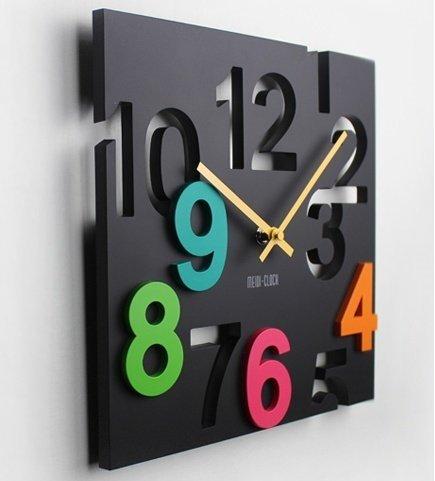 異次元空間!  掛け時計 ウォールクロック 壁 時計 立体 四角デザイン (ブラック)