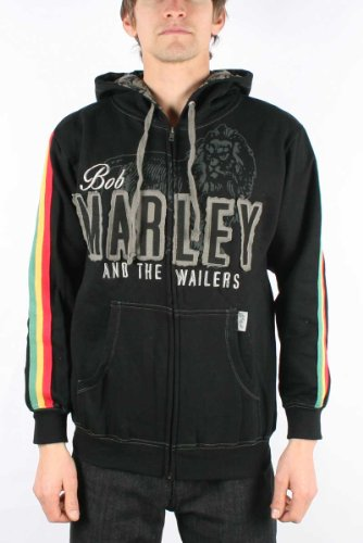 Bob Marley / Catch A Fire - Get Up Zip Mens Hoodie in Black, Size: Large, Color: Black