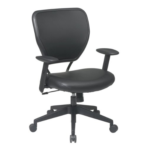 Office Star Vinyl Back Deluxe Task Chair with Vinyl Seat, Adjustable Angled Arms, Angled Base and Oversized Carpet Casters