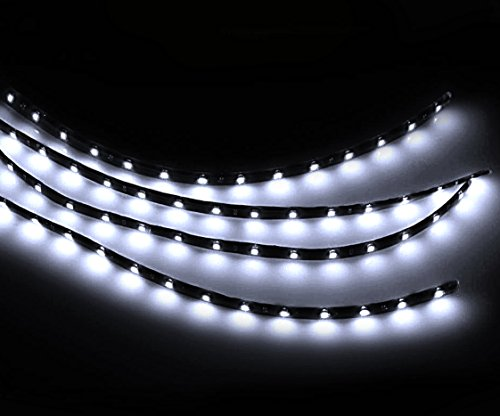 Zento Deals 30cm White LED Car Flexible Waterproof Light Strip (Pack of 4) (Led Light Strip For Headlights compare prices)