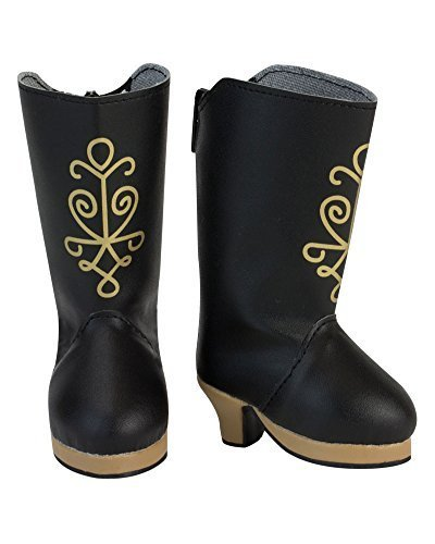 18 Inch Doll Black Heel Boots with Gold Metallic Print Screen Design, Black Boots with Heel - 1