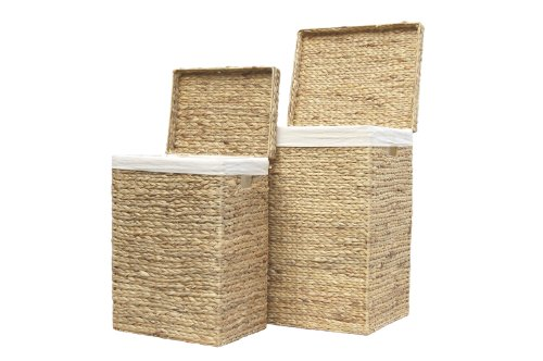Set of 2 Natural Coloured Rattan Laundry Storage Trunks / Baskets / Toy Boxes