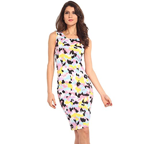 Singlevillage Women'S Celeb Inspired Tie Dye Splash Print Bodycon Midi Dress