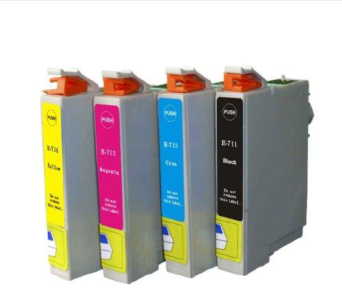 NON-OEM 1 Epson Kompatible Tintenpatrone T071, T0712 Cyan für Druker STYLUS D120, D78, D92, DX400, DX4000, DX4050, DX4400, DX4450, DX5000, DX5050, DX5500, DX6000, DX6050, DX7000F, DX7400, DX7450, DX8400, DX8450, DX9200, DX9400F, DX9400F WIFI EDITION, OFFICE B40W, OFFICE BX300F, OFFICE BX310FN, OFFICE BX510W, OFFICE BX600FW, OFFICE BX610BFW, S20, S21, SX100, SX105, SX110, SX115, SX200, SX205, SX210, SX215, SX218, SX400, SX400 WIFI, SX405, SX405 WIFI, SX410, SX415, SX417, SX510W, SX515W, SX600FW,