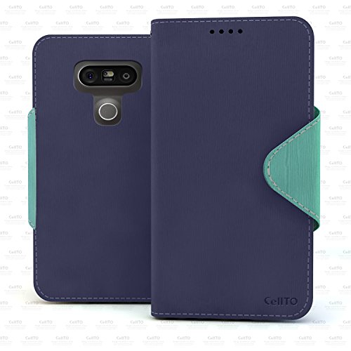 10. G5 Case, Cellto PU Leather Wallet [Navy Blue/Mint] Cover Stand and Reversible Magnetic Flap [Lifetime Warranty] Flip Cover for LG G5