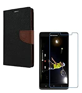 YGS Premium Diary Wallet Mobile Case Cover For Lenovo Vibe K4 Note-Brown with Tempered Glass