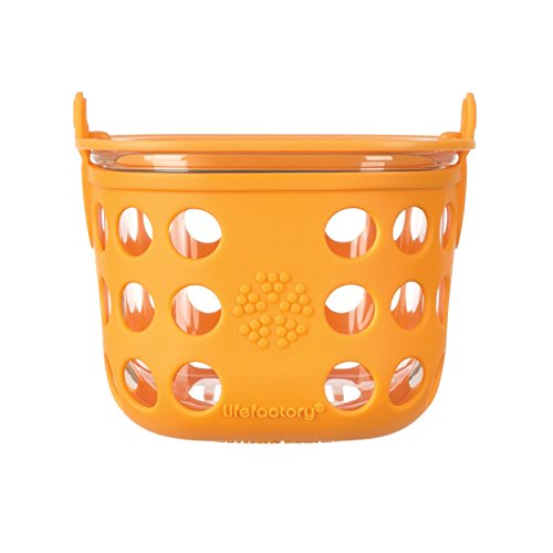 Lifefactory 2-Cup Glass Food Storage with Silicone Sleeve, Orange