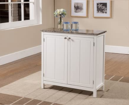 Superb Kings Brand White With Marble Finish Top Kitchen Island Storage Cabinet