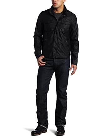 Levi's Men's Faux Leather Military Jacket, Black, Large