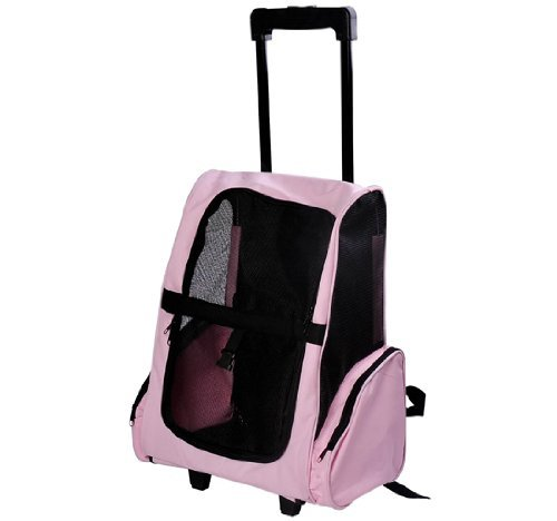 Pawhut Deluxe Pet / Dog Travel Carrier Backpack w/ Wheels – Pink