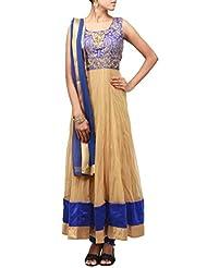 Kalki Fashion Beige Anarkali Suit Featuring With Pita Zari Work Only On Kalki