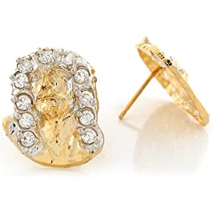 14k Two Tone Real Gold White CZ 1.92cm x 1.51cm Jesus Christ Petite Post Earrings