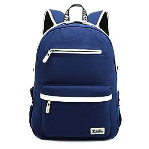 ZeleToile® MB-31 Multi Function Men and Women Unisex Canvas Leather Rucksack Laptop Backpack Teenage Boy Girl Schoolbag School Backpack Shoulder Bag Casual Sports Travel Hiking Bag Computer Bag 13-15 inch (Blue)