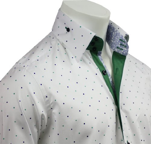 Men's Formal & Casual Italian Design Shirts Green Dots Pattern Slim Fit S-4XL
