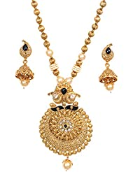Jewellity Golden Black Round Pendant Necklace Set For Women NSG-122
